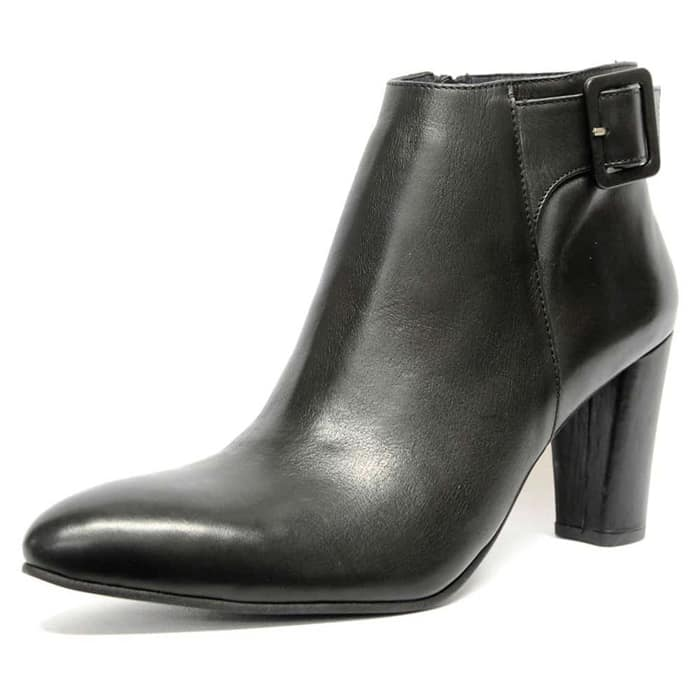 bottines cuir lisse noir, chaussures femme grande taille
